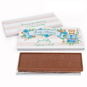 Deluxe Personalized Baby Shower Story Time Embossed Chocolate Bar in Gift Box