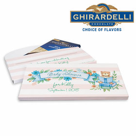Deluxe Personalized Baby Shower Story Time Ghirardelli Chocolate Bar in Gift Box