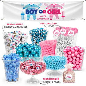 Personalized Gender Reveal Onesies Deluxe Candy Buffet