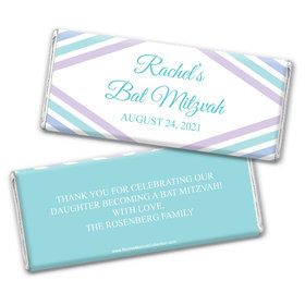 Personalized Bonnie Marcus Bat Mitzvah Traditional Stripes Chocolate Bar & Wrapper