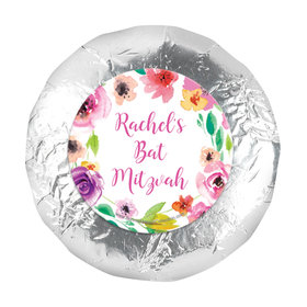 "Personalized Bonnie Marcus Bat Mitzvah Floral Commencement 1.25"" Sticker (48 Stickers)"