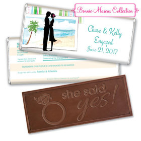 Bonnie Marcus Collection Personalized Embossed Chocolate Bar Personalized & Wrapper Tropical I Do Engagement