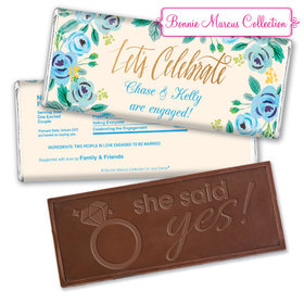 Bonnie Marcus Collection Personalized Embossed Chocolate Bar Chocolate & Wrapper Here's Something Blue Engagement Favors