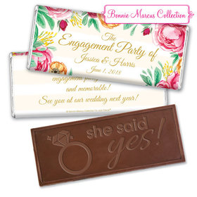 Personalized Bonnie Marcus Engagement Stripes Embossed Chocolate Bar & Wrapper