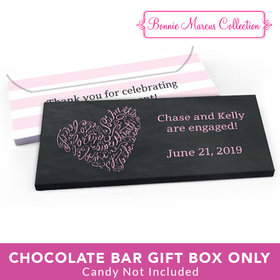 Deluxe Personalized Engagement Sweetheart Swirl Candy Bar Favor Box