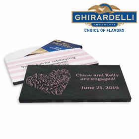 Deluxe Personalized Engagement Sweetheart Swirl Ghirardelli Chocolate Bar in Gift Box