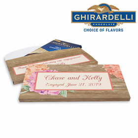 Deluxe Personalized Engagement Blooming Joy Ghirardelli Chocolate Bar in Gift Box