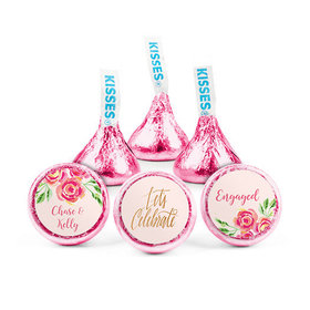 Personalized Bonnie Marcus Engagement Pink Flowers Hershey's Kisses (50 pack)