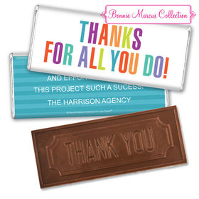 Personalized Bonnie Marcus Business Thank you Stripes Embossed Chocolate Bar