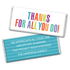 Personalized Bonnie Marcus Business Thank you Stripes Chocolate Bar Wrappers Only