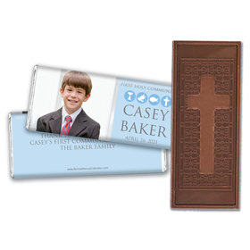 Personalized Bonnie Marcus Boy First Communion Religious Symbols Embossed Chocolate Bars