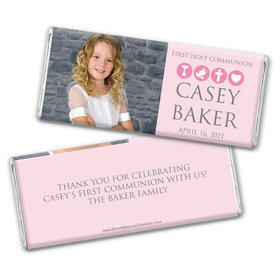 Personalized Bonnie Marcus Girl First Communion Religious Symbols Chocolate Bar Wrappers Only