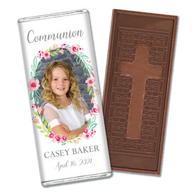 Personalized Bonnie Marcus Girl First Communion Floral Elegance Embossed Chocolate Bars