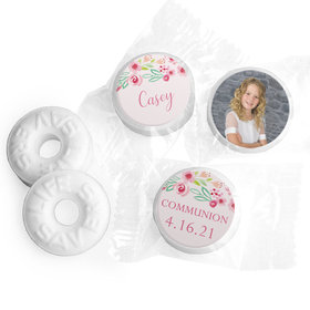 Personalized Girl First Communion Floral Elegance Life Savers Mints