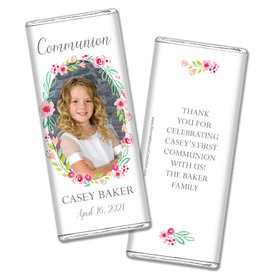 Personalized Bonnie Marcus Girl First Communion Floral Elegance Chocolate Bar Wrappers Only