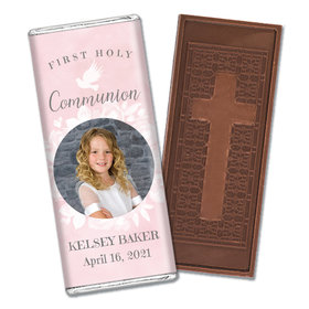 Personalized Bonnie Marcus Girl First Communion Darling Roses Embossed Chocolate Bars