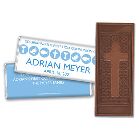 Personalized Bonnie Marcus Boy First Communion Religious Icons Embossed Chocolate Bars