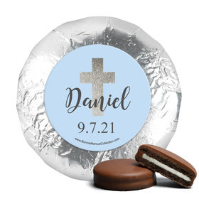Personalized Boy First Communion Shimmering Cross Chocolate Covered Oreos