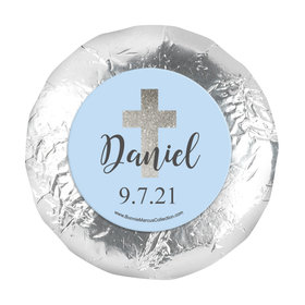 "Personalized Boy First Communion Shimmering Cross 1.25"" Stickers (48 Stickers)"