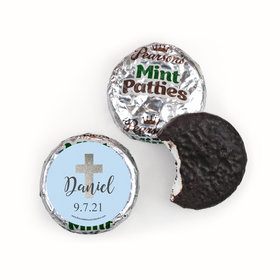 Personalized Boy First Communion Shimmering Cross Pearson's Mint Patties
