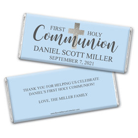 Personalized Bonnie Marcus Boy First Communion Shimmering Cross Chocolate Bars