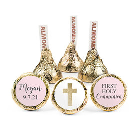 Personalized Bonnie Marcus Girl First Communion Shimmering Cross Hershey's Kisses (50 pack)