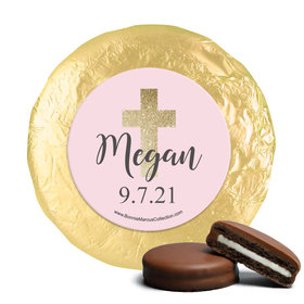 Personalized Girl First Communion Shimmering Cross Chocolate Covered Oreos