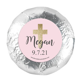 "Personalized Girl First Communion Shimmering Cross 1.25"" Stickers (48 Stickers)"