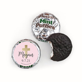 Personalized Girl First Communion Shimmering Cross Pearson's Mint Patties