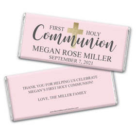 Personalized Bonnie Marcus Girl First Communion Shimmering Cross Chocolate Bars