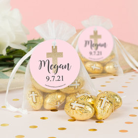Personalized 1st Communion Child in Prayer Milk Chocolate Eggs in Organza Bags with Gift Tag