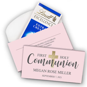 Deluxe Personalized First Communion Lindt Chocolate Bar in Gift Box- Bonnie Marcus Girl Shimmering Cross
