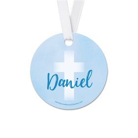 Personalized Round Faded Cross Communion Favor Gift Tags (20 Pack)