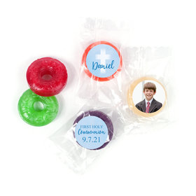 Personalized Boy First Communion Faded Cross Life Savers 5 Flavor Hard Candy