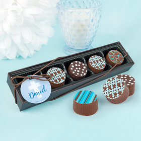 Personalized Bonnie Marcus Boy First Communion Faded Cross Gourmet Chocolate Truffle Gift Box (5 Truffles)