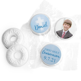 Personalized Boy First Communion Faded Cross Life Savers Mints