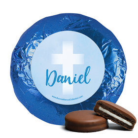 Personalized Boy First Communion Faded Cross Chocolate Covered Oreos