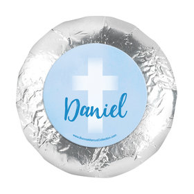 "Personalized Boy First Communion Faded Cross 1.25"" Stickers (48 Stickers)"