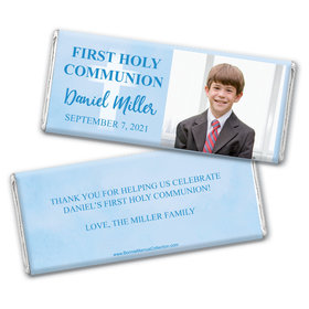 Personalized Bonnie Marcus Boy First Communion Faded Cross Chocolate Bars