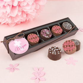 Personalized Bonnie Marcus Girl First Communion Faded Cross Gourmet Chocolate Truffle Gift Box (5 Truffles)