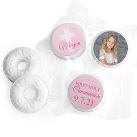 Personalized Girl First Communion Faded Cross Life Savers Mints