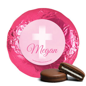 Personalized Girl First Communion Faded Cross Chocolate Covered Oreos