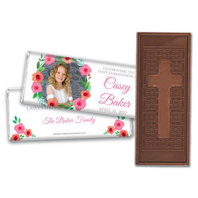 Personalized Bonnie Marcus Girl First Communion Bold Florals Embossed Chocolate Bars