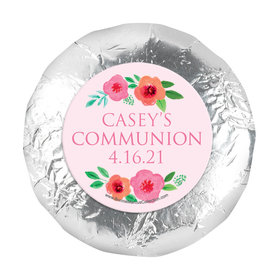 "Personalized Girl First Communion Bold Florals 1.25"" Stickers (48 Stickers)"