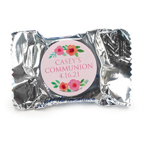 Personalized Girl First Communion Bold Florals York Peppermint Patties