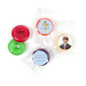 Personalized Boy First Communion Glitter Cross Life Savers 5 Flavor Hard Candy