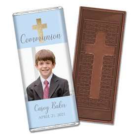 Personalized Bonnie Marcus Boy First Communion Glitter Cross Embossed Chocolate Bars