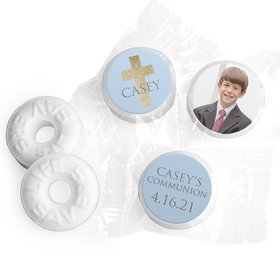 Personalized Boy First Communion Glitter Cross Life Savers Mints