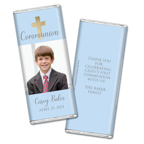 Personalized Bonnie Marcus Boy First Communion Glitter Cross Chocolate Bar Wrappers Only