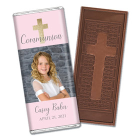 Personalized Bonnie Marcus Girl First Communion Glitter Cross Embossed Chocolate Bars